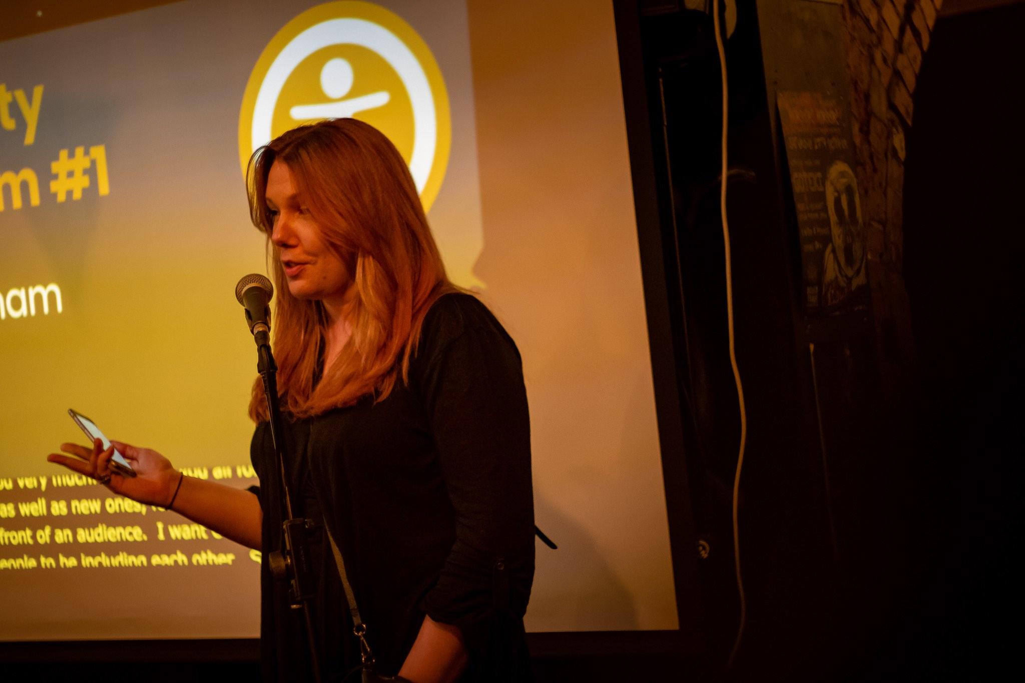 Zara Gemmell, a speaker at the event, giving a presentation.